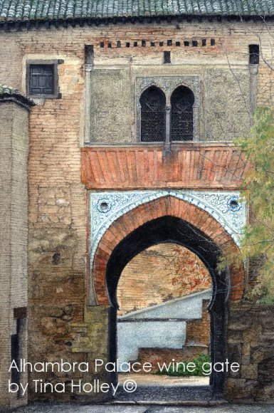 Wine Gate, Alhambra Palace, Andalucia, Spain. Moorish architecture. Archway, tilework