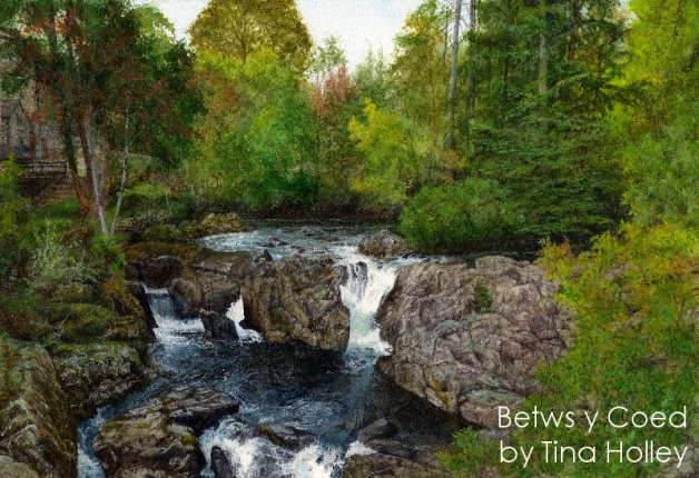 Watercolour painting by Tina Holley of the Pont y Pair falls in Betws y Coed, North Wales
