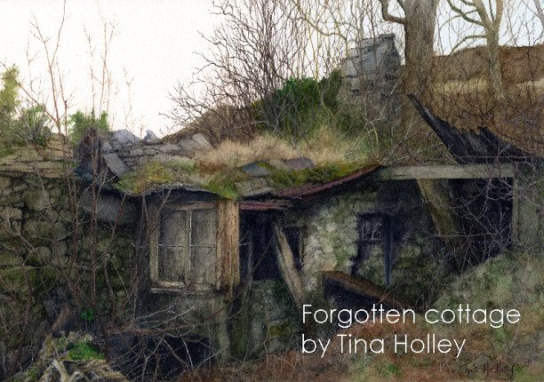 Tumbledown cottage above the slate quarry town of Bethesda, Wales, watercolour painting by Tina Holley