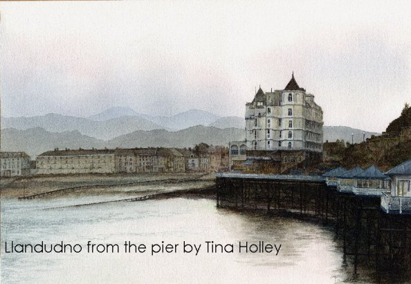 Watercolour painting by Tina Holley from Llandudno Pier looking back to the Grand Hotel and the North Shore set against the Welsh mountains.