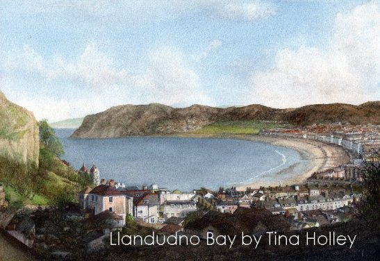 Tina Holley watercolour of Llandudno's North Shore and the Little Orme painted from by the Great Orme tramline.