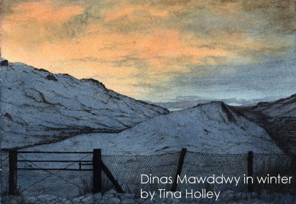 Tina Holley watercolour painting of snow covered mountains against a sunset at Dinas Mawddwy near Dolgellau in mid Wales