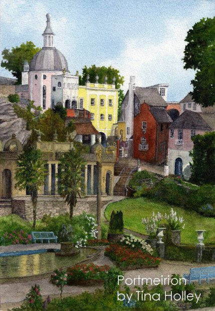 Portmeirion, the italianate village in North Wales created by architect Clough Williams-Ellis. Watercolour painting by Tina Holley