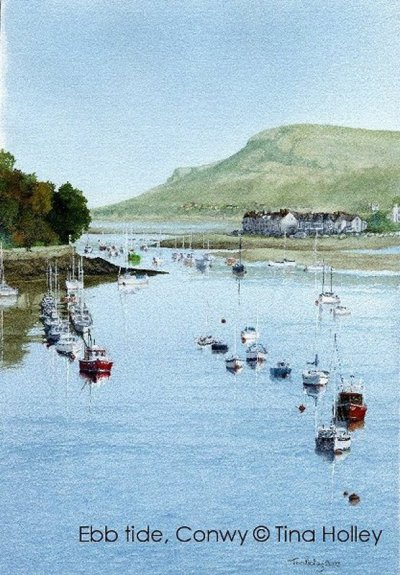 Looking down the river Conwy from the bridge towards Deganwy and the Greta Orme. Painted by Tina Holley