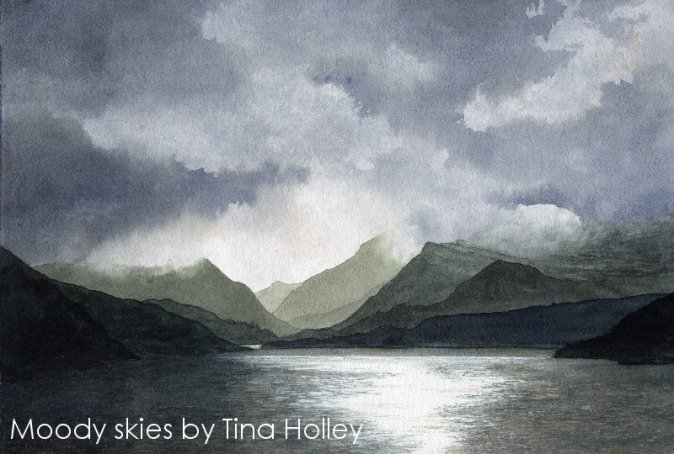 Moody skies Llyn Padarn Snowdonia North Wales watercolour painting by Tina Holley