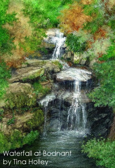 Watercolour painting by Tina Holley of a waterfall at Bodnant Garden. National Trust property in North Wales