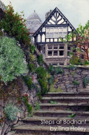 From to formal gardens looking to Bodnant Hall painted by Tina Holley