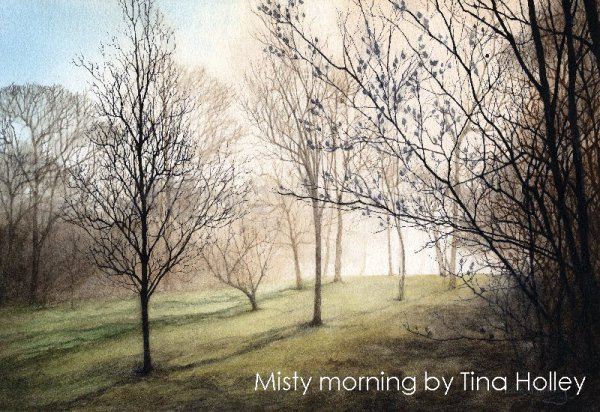 Watercolour painting of a misty morning in Bodnant Garden. National Trust property in North Wales.