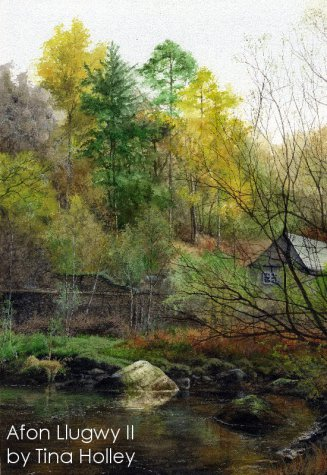 Tina Holley watercolour painting of the Afon Llugwy at Capel Curig in autumn