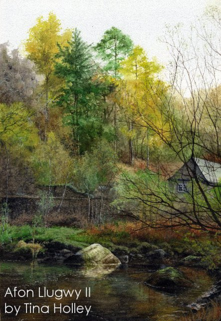 Afon Llugwy river in autumn. Watercolour painting by Tina Holley in Snowdonia National Park, North Wales