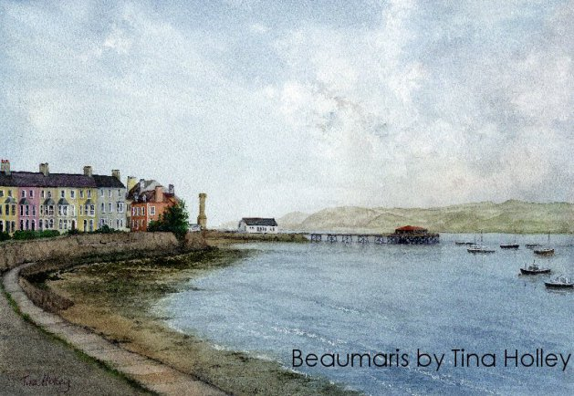 Beaumaris, Anglesey, Ynys Mon. Watercolour by Tina Holley showing the old pier.