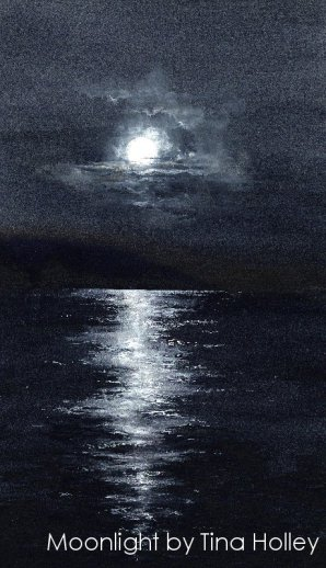 Moonlight over the Menai Straits, Anglesey, Ynys Mon. Watercolour painting by Tina Holley