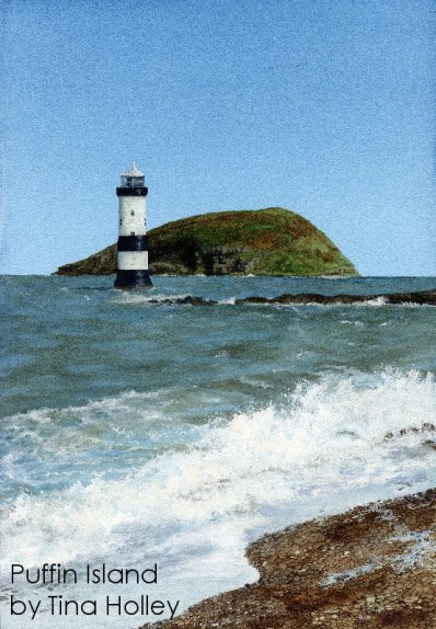 Puffin Island from Penmon Point painted by Tina Holley