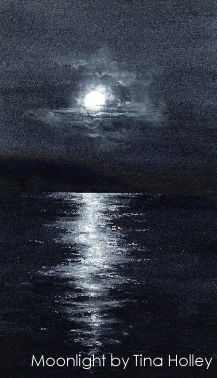 Moonlight. Watercolour painting by Tina Holley