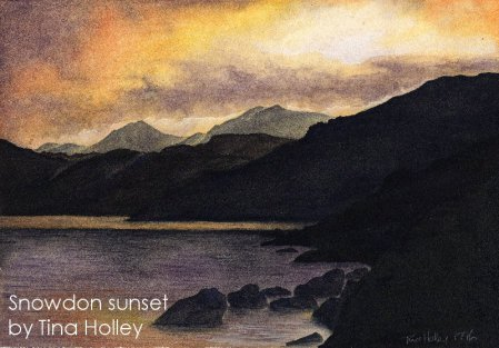 Watercolour painting by Tina Holley of a fiery sunset over Snowdon from the twin lakes by Plas y Brenin.