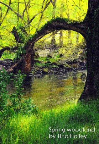 Bright spring day across the Afon Llugwy. Watercolour by Tina Holley