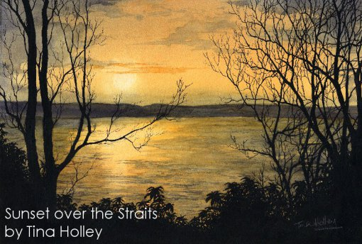 Watercolou painting by Tina Holley of sunset over the Menai Straits from Penmaenmawr