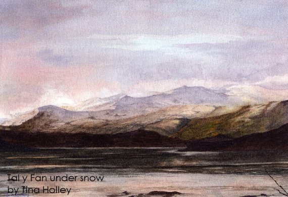Tal y Fan under snow painted by Tina Holley