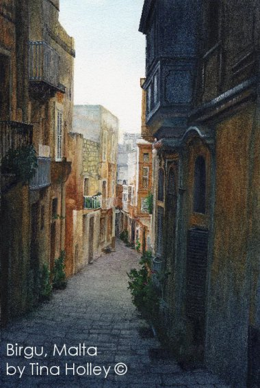 Watercolour painting by Tina Holley of a street in Birgu, Malta