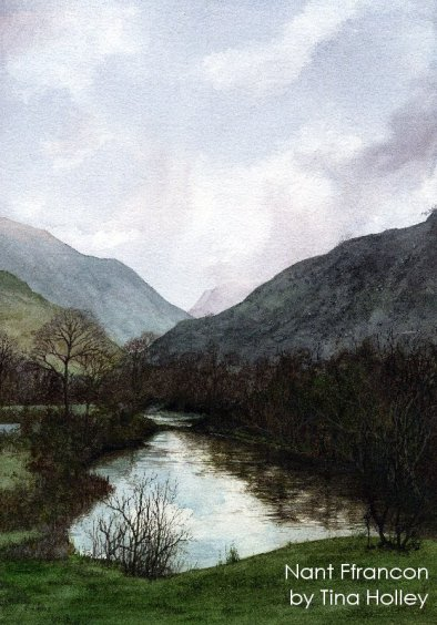 Nant Ffrancon pass from Ogwen Bank near Bethesda. Watercolour painting by Tina Holley