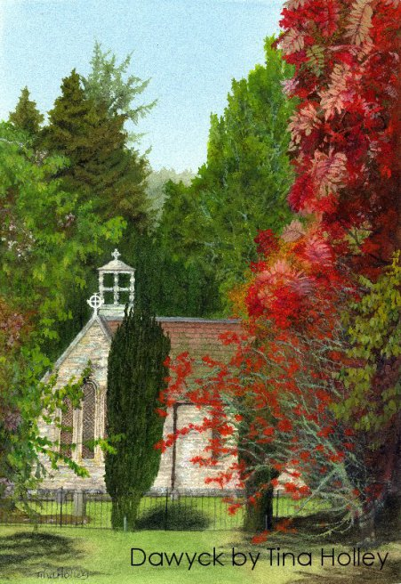 Autumn colours in Dawyck Botanical Garden. Watercolour painting by Tina Holley