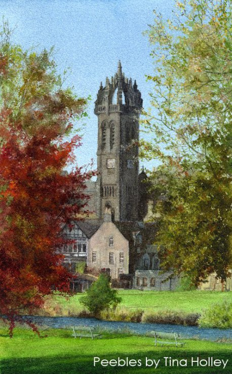 Peebles old church and river Tweed by painter Tina Holley