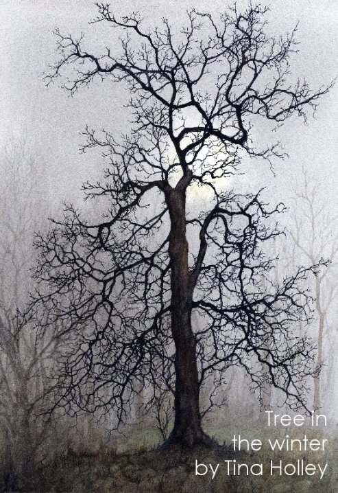 Tree in the winter. Original watercolour painting by Tina Holley. Silhouette tree on a misty day. Watercolor.