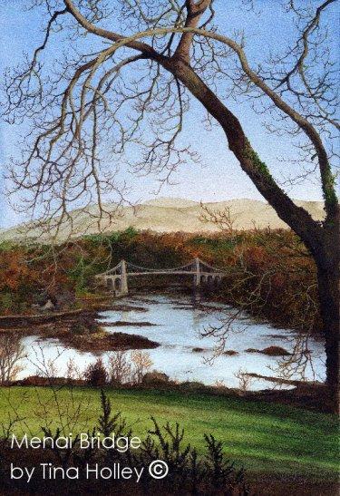 Menai Bridge watercolour painting bylandscape artist TinaHolley. Cymru, Wales, Ynys Mon, Anglesey, Gwynedd Menai Straits