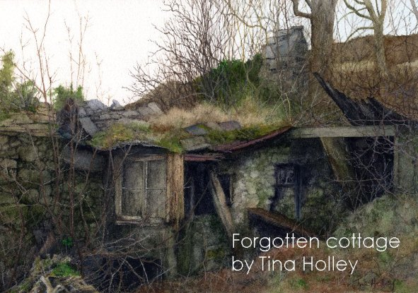 Forgotten cottage in the mountains of North Wales. Watercolour painting of a tumbledown old stone cottage by Tina Holley