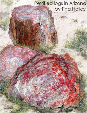 Petrified logs, Petrified forest National Park, Arizona. Watercolour painting by Tina Holley for their Artist in Residence Program