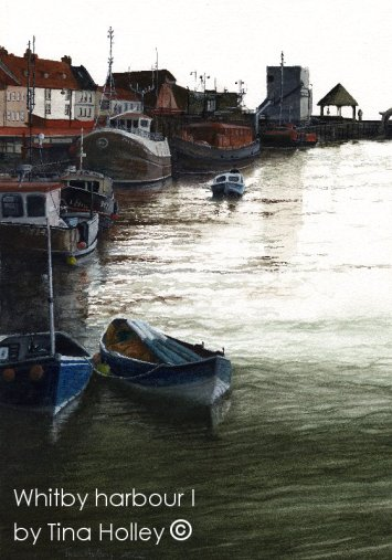 Whitby Harbour I, North Yorkshire. Painted by Tina Holley. Featured as the programme cover for Whitby Folk Festival.