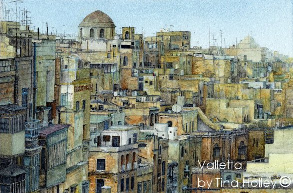 Valletta, Malta by the side of Grand Harbour. Watercolour painting by Tina Holley