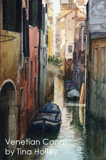 Canal in Venice. Watercolour painting by Tina Holley