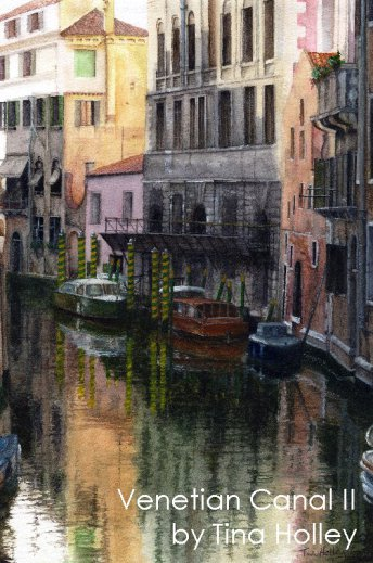 Relections in Venetian canal. Watercolour painting by Tina Holley