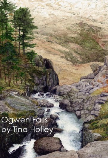 Ogwen Falls at the head of the Nant Ffrancon Pass in North Wales. Watercolour painting by Tina holley