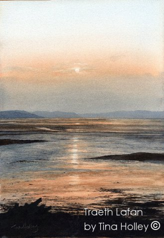 Traeth Lafan looking towards Anglesey. Watercolour painting by Tina Holley