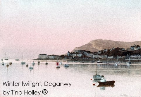 Winter twilight looking towards Deganwy from the Conwy Bridge. Watercolour painting by Tina Holley