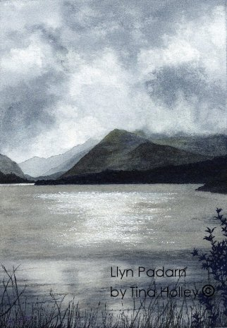 Llyn Padarn looking towards Snowdon. Prize for the Snowdon Marathon. Watercolour painting by Tina Holley
