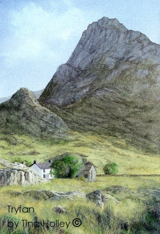 Tryfan in the Ogwen valley, Snowdonia National Park. Watercolour painting by Tina Holley