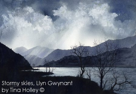 Stormy skies over Llyn Gwynant, near Beddgelert, Snowdonia National Park. Watercolour painting by Tina Holley