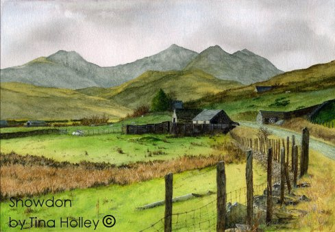 Snowdon horseshoe from Dyffryn Mymbir, Capel Curig, North Wales. Watercolour painting by Tina Holley