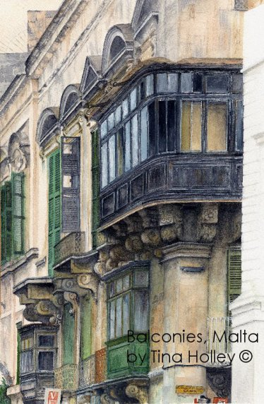 Balconies in Valletta, Malta near the shipwreck church. Watercolour painting by Tina Holley