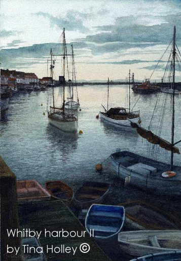 Whitby harbour, North Yorkshire painted from the swing bridge. By Tina Holley
