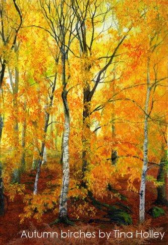 Autumn birches near the Afon Llugwy, Capel Curig, Snowdonia. Watercolour painting by Tina Holley