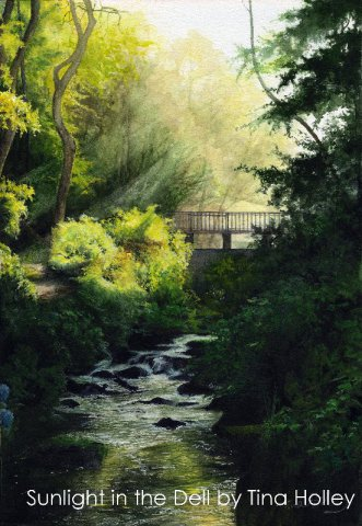 Sunlight in the Dell at the National Trust Bodnant Garden, North Wales. Watercolour painting by Tina Holley