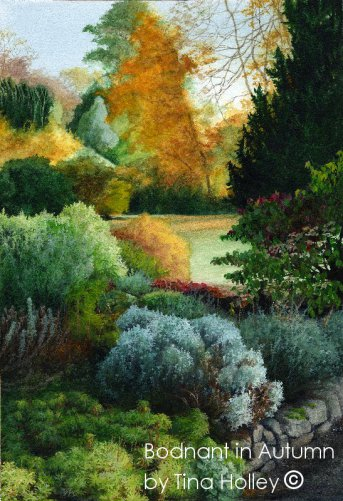 Bodnant Garden in autumn. Watercolour painting by Tina Holley