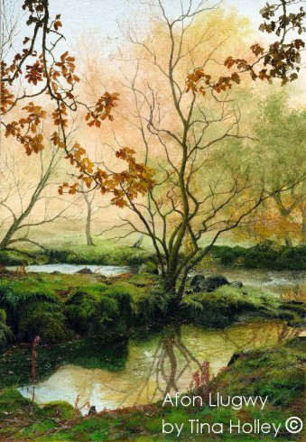 Autumn trees and reflections in the river by the Afon Llugwy , Capel Curig, Snowdonia. Watercolour painting by Tina Holley