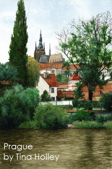 Prague. Watercolour painting of the Cathedral from the river by Tina Holley