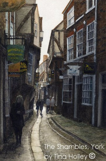 The Shambles in York. Original watercolour by Tina Holley