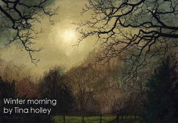 Winter morning in woodland by Fairy Glen in North Wales. Watercolour painting by Tina Holley
